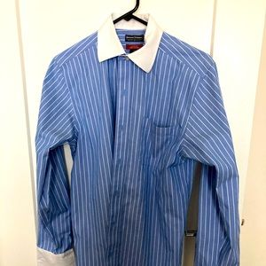 DENVER HAYES Blue White Stripe Shirt Sz S 14-14.5